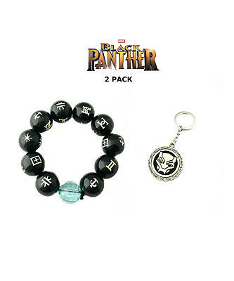 New 2018 Movie Black Panther Wakanda Cosplay 2 Pack Bracelet Keychain Gift Set