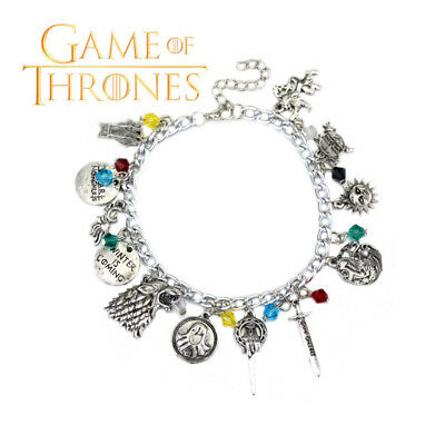 Game of Thrones (11 Themed Charms) Assorted Metal Charm Bracelet