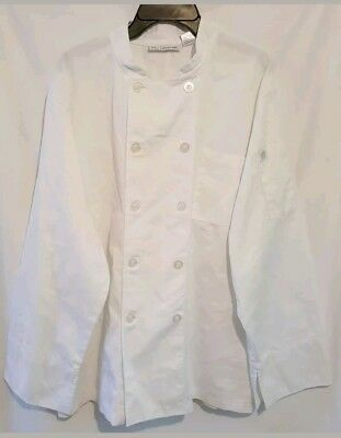Chef Works White Large Head Chef Coat Jacket Long Sleeve Cook Cotton Blend