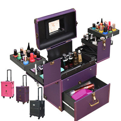 Multi Function Make Up Suitcase Women Cosmetic Trolley Beauty Nails Travel Kit