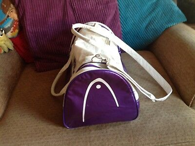 Vintage Head Duffel Bag Gym Bag White And Purple VGC With Strap