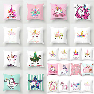 18'' Cartoon Unicorn Throw Pillow Case Cushion Cover Home Bed Sofa Office Decor