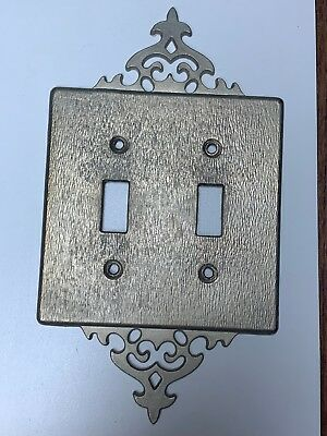 Vintage Brass Metal Double Toggle Light Switch Cover Plate w fancy detail