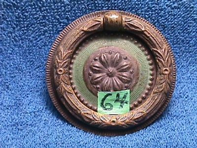 Vintage BRASS Plated ORNATE Art Nouveau CIRCULAR Drawer BACKPLATE + Brass PULL
