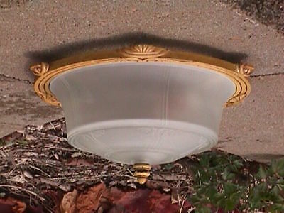 Antique ART DECO Art NOUVEAU Original SHADE GOLD Color COMPLETE Ceiling FIXTURE