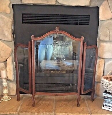 Antique French Three Panel Fireplace Screen Carved Wooden Beveled Glass