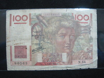 France 100 Francs 1946 French 62# Bank Currency Banknote Money