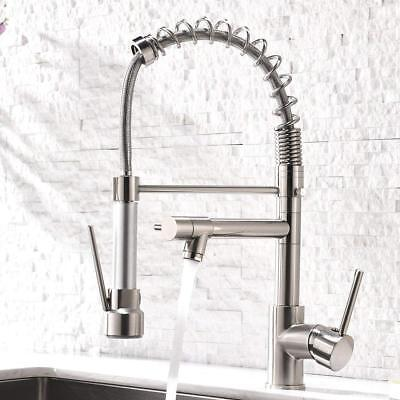 Aimadi Kitchen Sink Faucet with Pull Down Sprayer Brushed Nickel Spring Mixer