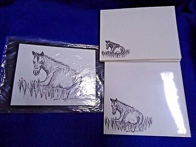 Horse in Field Lazy Day 3 Pc Set-Notepad, Print and 10 Printed Envelopes New