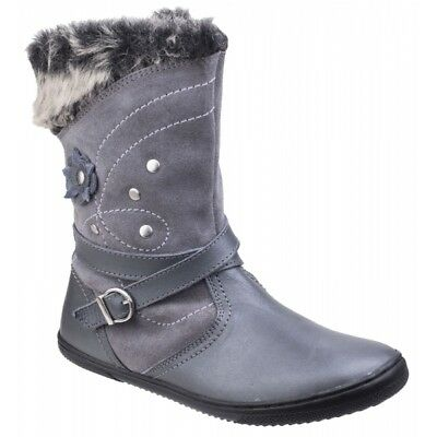 Hush Puppies PIPPA Girls Leather/Suede Floral Mid Calf Warm Winter Boots Grey