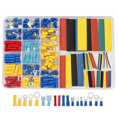 230Pcs Terminals Assorted Wire Connectors + 328Pcs 2:1 Heat Shrink Tube Case Kit
