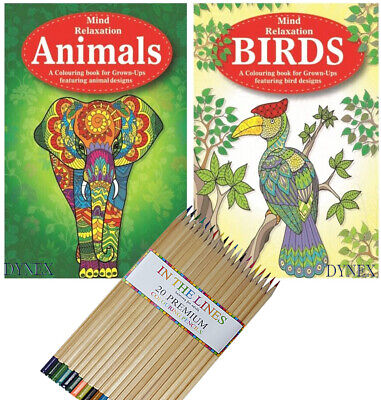 2 X BIRDS/ANIMALS Adult Therapy Colouring Books + 20 PREMIUM Colouring Pencils