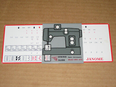 JANOME Sewing Guide Model 605 673 Slide Rule