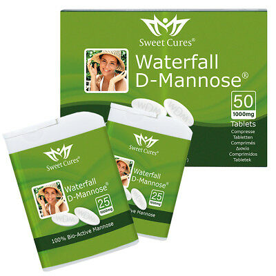 DMannose Tablets 50 x 1g | Waterfall D-Mannose UTI Bladder Support & Cystitis