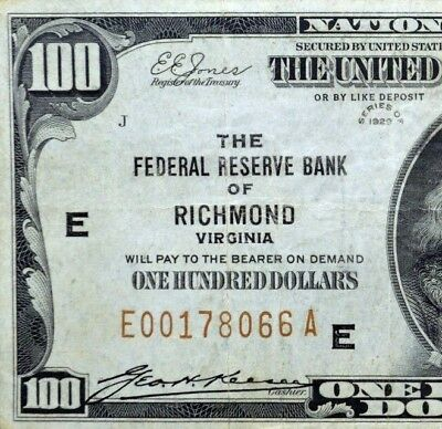 1929 $100 Federal Reserve National Bank Note ✪ Richmond ✪ Va Vf E L@@k ◢Trusted◣