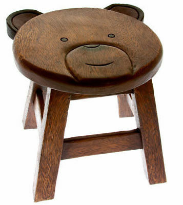 Shabby Chic Children Kids Wooden TEDDY BEAR Stool Solid Pine Character Seat Step