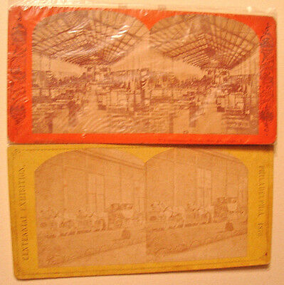 (2) 1876 STEREOVIEWS Philadelphia Centennial Expo - Government B'ldg & Carriage