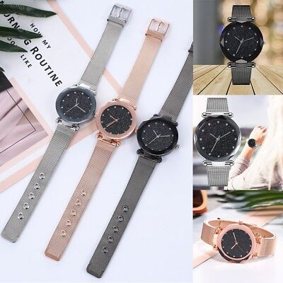 Women's Starry Sky Dial Wrist Watch Stainless Steel Watches Quartz Wristwatch
