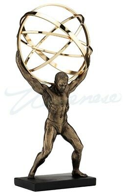 Male Nude Bodybuilder Atlas Carrying World as Open Sphere Terrestrial Statue