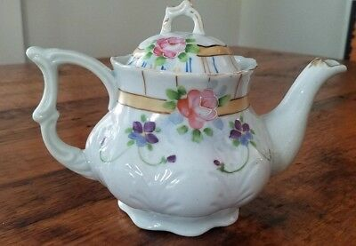 Hand Painted Nippon Teapot Pink Roses Purple Violets Gold Trim