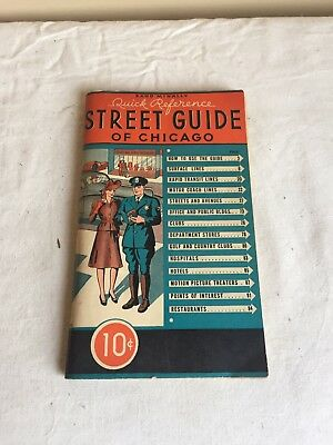 Vintage 1942 Quick Reference Street Guide Of Chicago Rand McNally Pamphlet