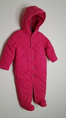 61b29da0a NWT Ralph Lauren Girls Pink Quilted Snowsuit Bunting Outfit 3, 6, & 9 Months