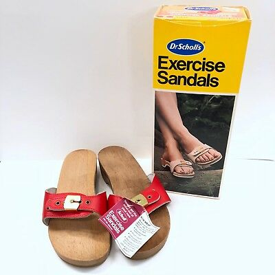 5a10ef8eab3d New Vintage Dr Scholls Wood Red Austria Exercise Sandals Size 6 with Box