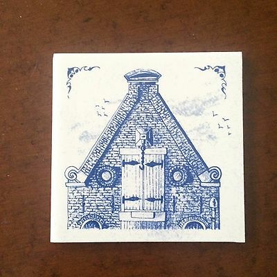 "Vintage KLM Airlines Business Class Blue and White 3"" Delft Tile Coaster A NEW"