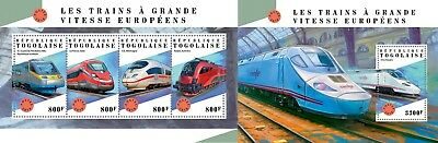 Z08 IMPERF TG18304ab Togo 2018 Europena Speed Trains MNH ** Postfrisch Set
