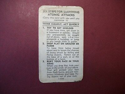 Vintage 1950 Six Steps For Surviving Atomic Attacks Instruction Card PA StateCIO