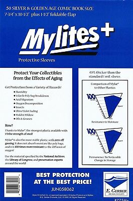 50 Mylites+ SILVER/ GOLD  1.4-mil Mylar Comic Bag Sleeves 775M+ by E. Gerber