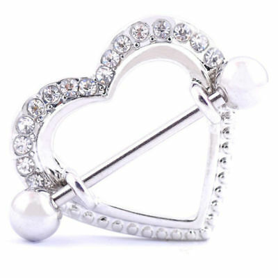 2PCS Surgical Steel Piercing Ring Nipple Rings Women Sexy Heart