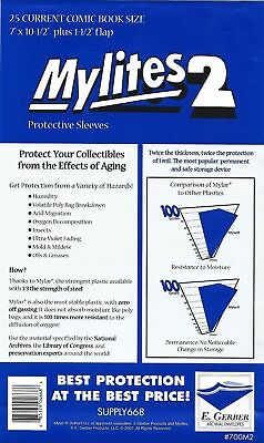 25 Mylites2 CURRENT (Modern) 2 mil Mylar Comic Sleeve Bags  by E. Gerber 700M2