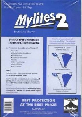 25 Mylites2 GOLD SIZE 2 mil Archival Mylar Comic Bag Sleeves by E. Gerber 800M2
