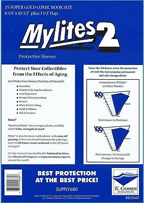 25 Mylites2 SUPER GOLD 2 mil Archival Mylar Comic Bag Sleeves by E. Gerber 825M2