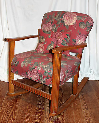 Antique Mission Arts & Crafts Oak Upholstered Rocking Chair early 1900s rocker
