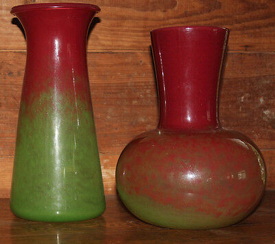 2 Vintage 1980s Large Sarreid Italian Blown Glass Vases Numbered made in Italy