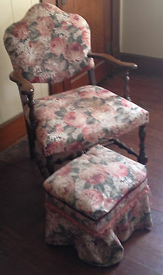 Vintage Victorian Style Camelback Upholstered Chair w/ stool floral design
