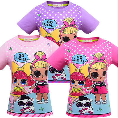 New LOL Girls Surprise Doll Cartoon T shirts Casual Tops Clothes Costume Gift