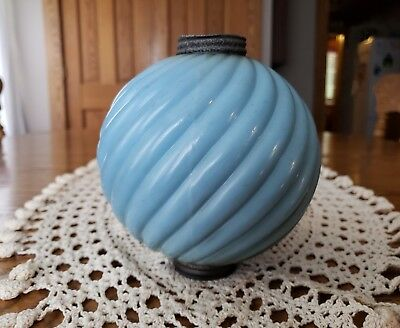 "Antique Miller Lightning Rod Co Swirl Milkglass Blue Lightning Ball 5""t×4.75""w"