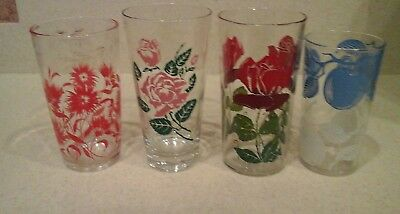 4 Vintage 1950's Drinking Glasses Retro Swanky Tumblers roses flowers fruit
