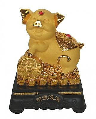 """8"""" Chinese Zodiac Golden Pig Statue w/ Money Coin Figurine for Lunar Year of Pig"""