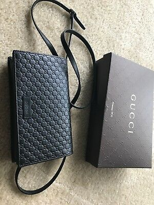 69550b5ec9c4 Authentic Gucci Crossbody Wallet Bag Black Microguccissima Leather! Retail  $590
