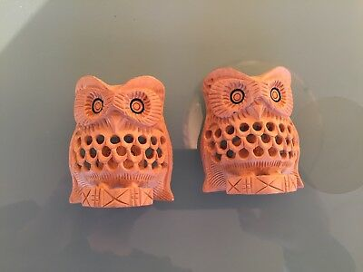 """Pair Of Hand Carved Wood decorative Owls 3"""" tall to bring luck"""