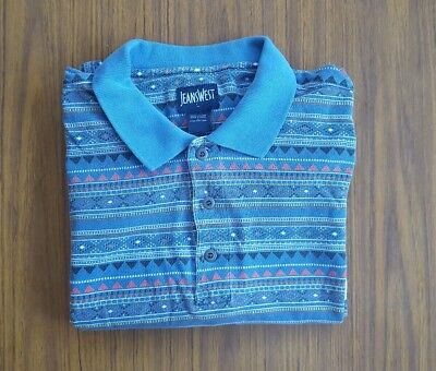 Vintage Aztec Short Sleeve Polo Shirt Size L/XL Blue By Jeans West Long Shirt
