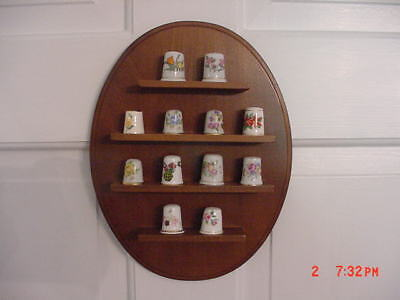 Vintage   Oval  Wooden  Thimble Rack With 12 Floral  Thimbles