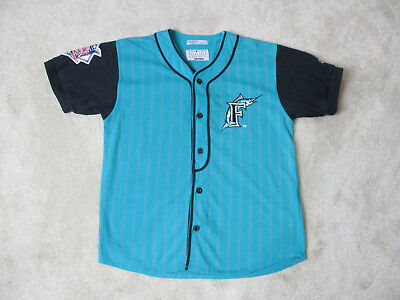new concept bd442 d7174 VINTAGE STARTER FLORIDA Marlins Baseball Jersey Youth Large Teal Black Kids  90s