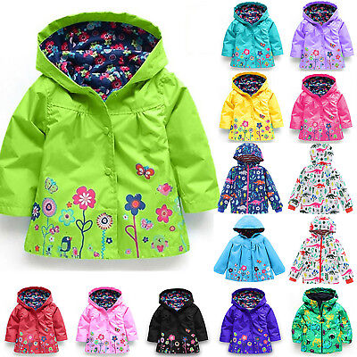 Kids Girls Hooded Waterproof Jacket Coat Floral Outerwear Raincoat Windbreaker