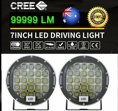 2PC 7inch 99999W CREE Round LED Driving Lights Black SPOT Work Offroad 4x4 Truck