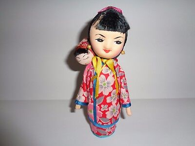 Vintage Asian Young China Woman Peg Doll With Baby In Kimono Robe Dress